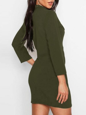 Single Button Ruched Blazer Dress