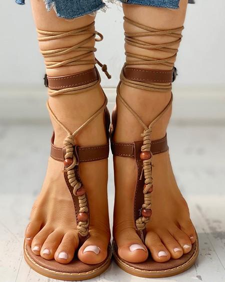 boutiquefeel / Bandage Design Toe Post Flat Sandals