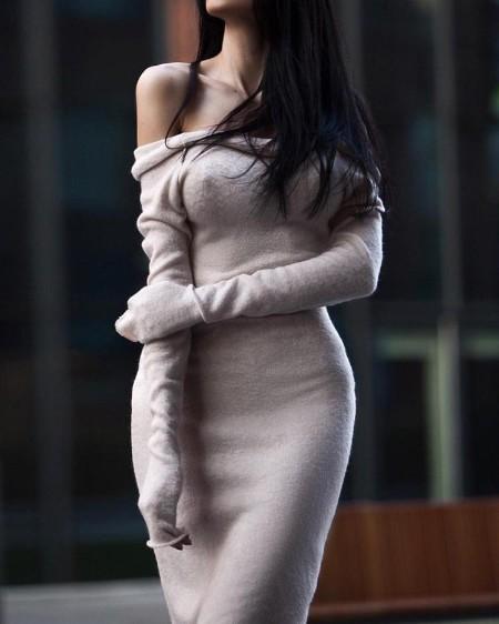 Off Shoulder Long Sleeve Skinny Dress
