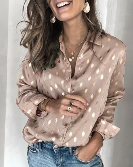Dot Print Long Sleeve Casual Shirt