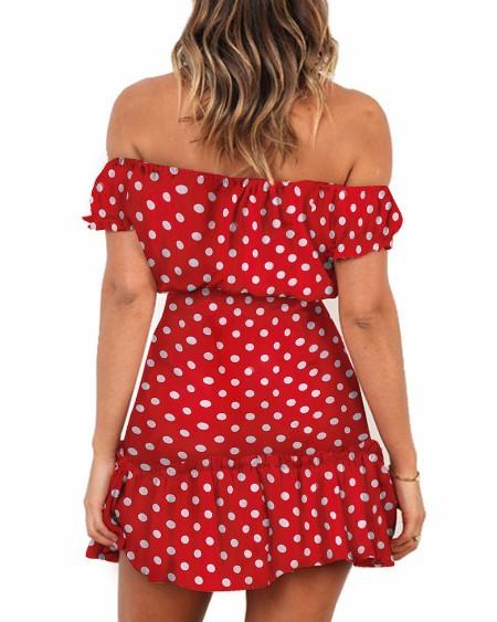 Off Shoulder Ruffles Dot Print Dress