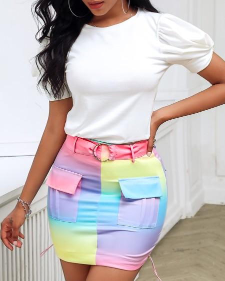 Puffed Sleeve Top & Colorblock Pocket Design Skirt Set
