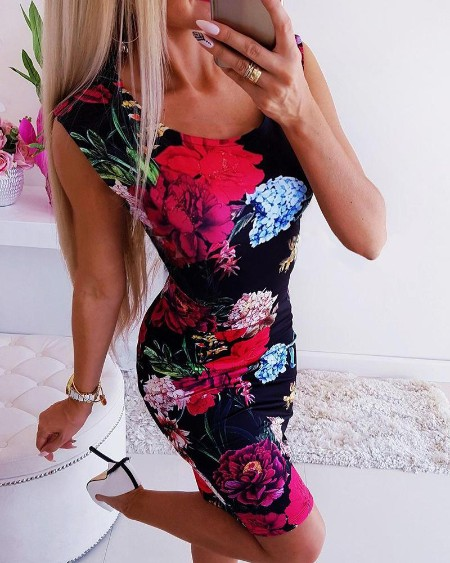 Floral Print Sleeveless Mini Dress