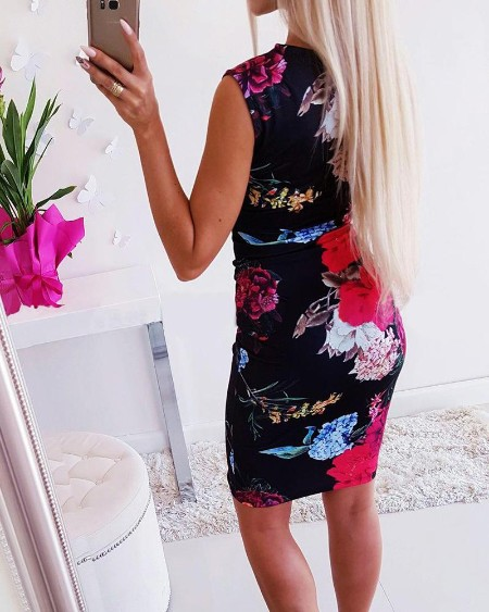 Floral Print Sleeveless Mini Dress