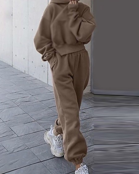 Plain Pocket Design Long Sleeve Hoodie & High Waist Pants Set