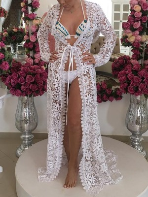 See Through Crochet Scapllop Hem Lace Cover Ups