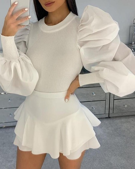 Plain Ribbed Puffed Sleeve Blouse