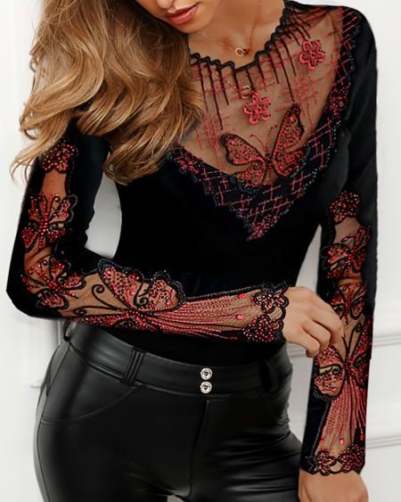 Sheer Mesh Butterfly Studded Design Blouse