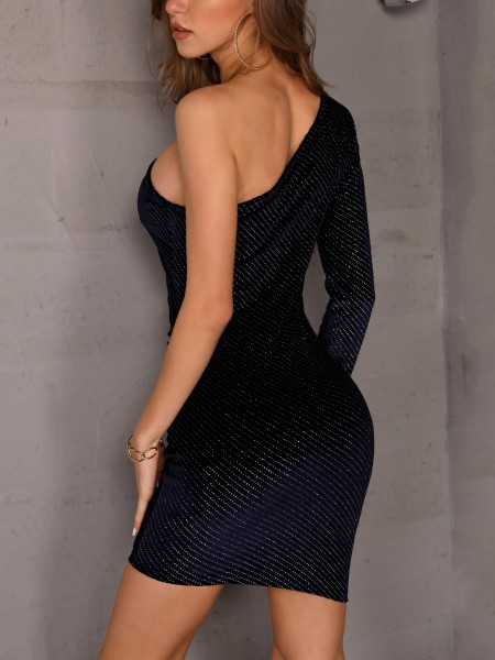 One Shoulder Glitter Ruched Bodycon Dress