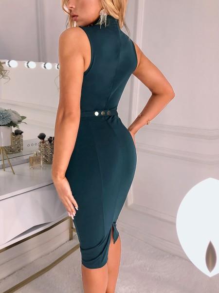Mesh Insert Cutout Front Midi Dress