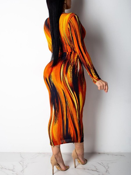 Plunge Twist Front Slinky Abstract Printed Dress