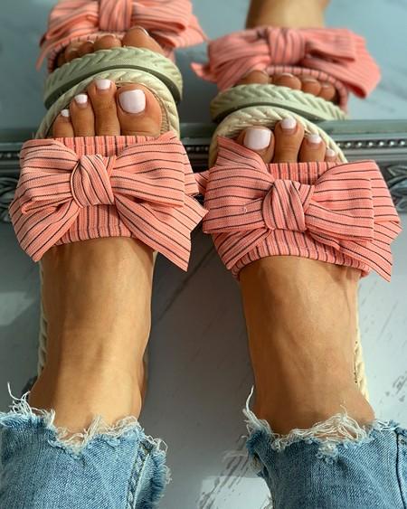 Striped Bowknot Decor Woven Flax Flat Sandals