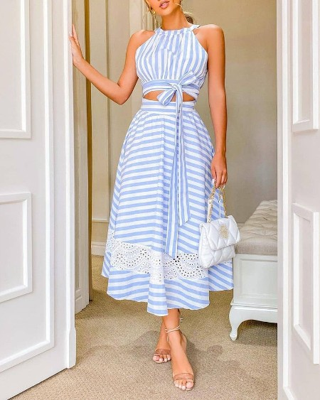 Striped Crop Top & Eyelet Embroidery Maxi Skirt Set
