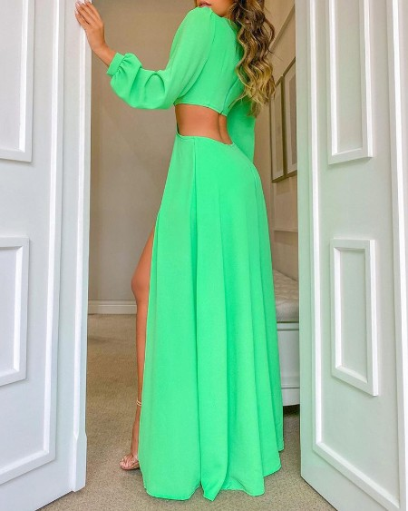 High Slit Cutout Maxi Dress