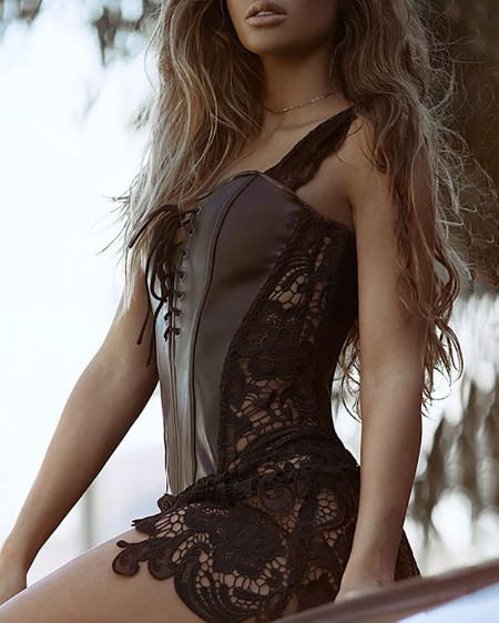Lace-Up Eyelet Artificial Leather Bustier Babydoll