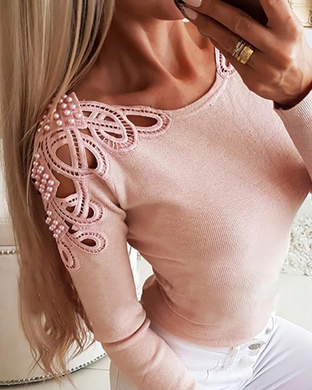 Solid Hollow Out Pearl Beaded Blouse