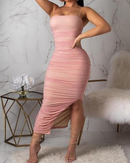 Ruched Design Mesh Slit Dress