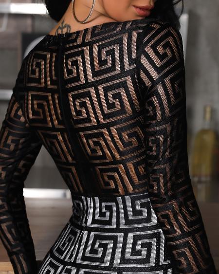 boutiquefeel / Greek Fret Inspired Print Mesh Insert Bodycon Dress