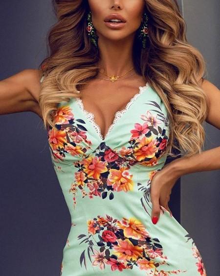 Floral Print Lace Trim Bodycon Dress
