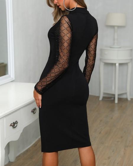 Sheer Grid Mesh Insert Slit Bodycon Dress