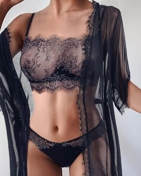 Eyelash Lace Glitter Bra Set With Sheer Mesh Robe