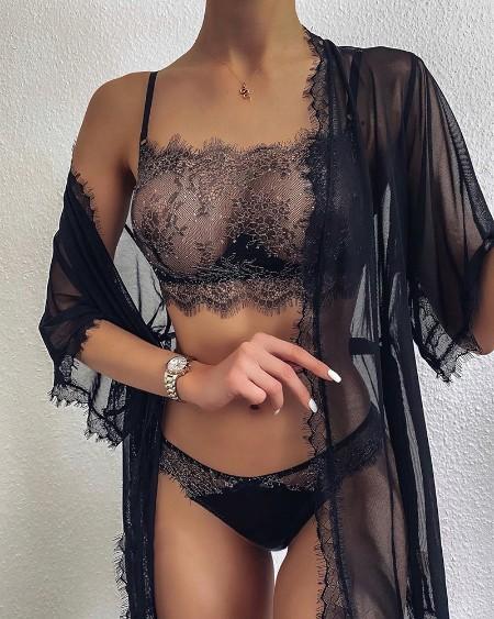 Eyelash LaceGlitter Bra Set With Sheer Mesh Robe