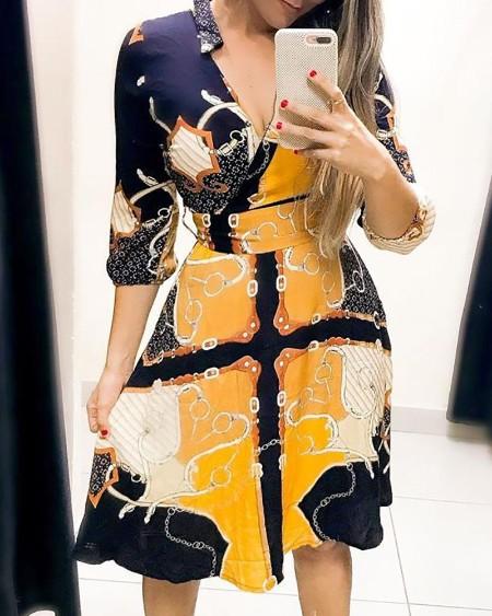 Scarf Print V-Neck Wrap Casual Dress