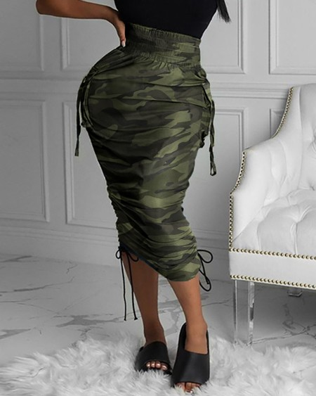 Camouflage Print Pocket Design Ruched Maxi Skirt