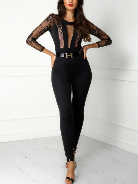 Lace Crochet Mesh See Through Jumpsuit