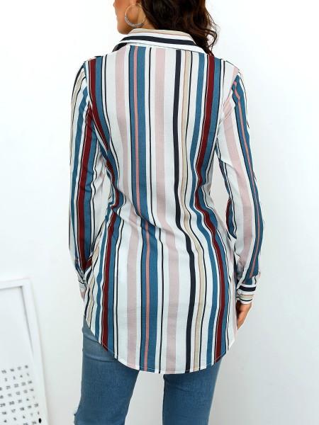 Vertical Stripes Knotted Front Curve Hem Shirt