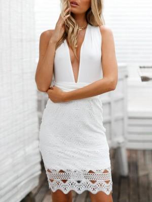 Sexy Crisscross Back Splicing Lace Hem Mini Dress