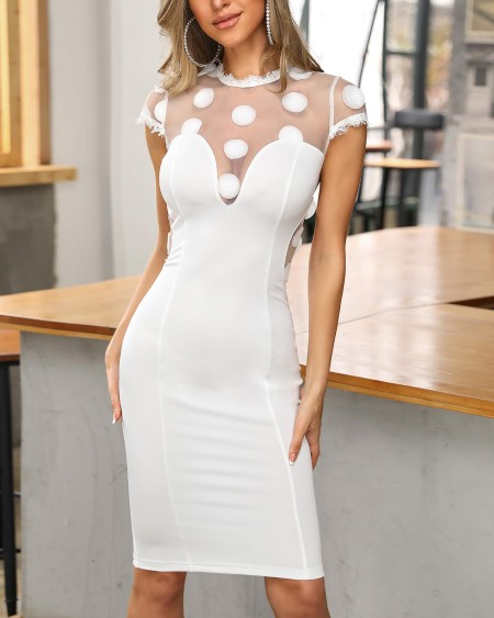 b278a627ad5 Sheer Mesh Eyelash Lace Insert Bodycon Dress ...