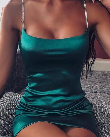 Solid Bodycon Satin Mini Dress