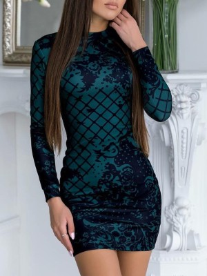 Sexy Long Sleeve Printing Bodycon Mni Dress