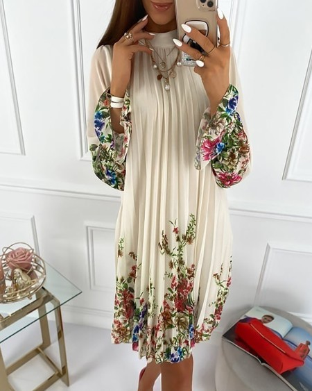 Florla Print Bell Cuff Ruched Casual Dress