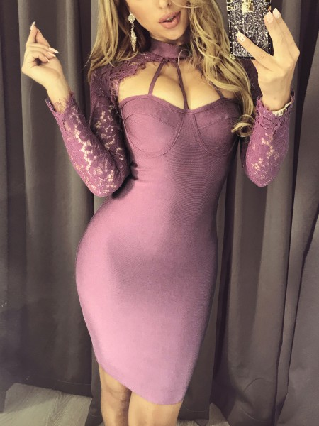 Caged Neck Lace Sleeve Bodycon Dress