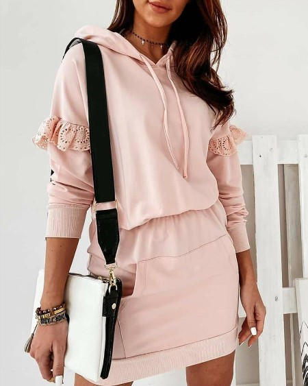 Plain Pocket Design Hooded Sweatshirt Dress