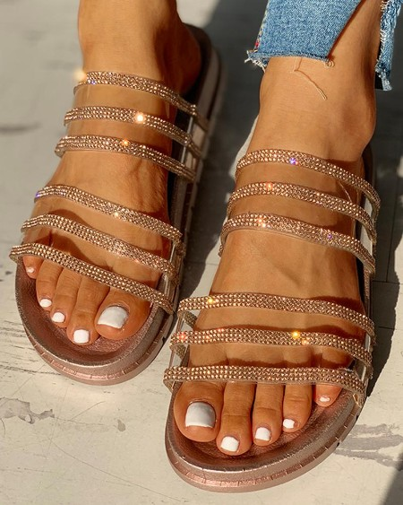 boutiquefeel / Studded Multi-strap Flat Sandals