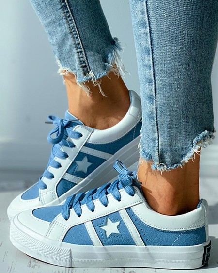 Star Pattern Colorblock Lace-up Canvas Shoes