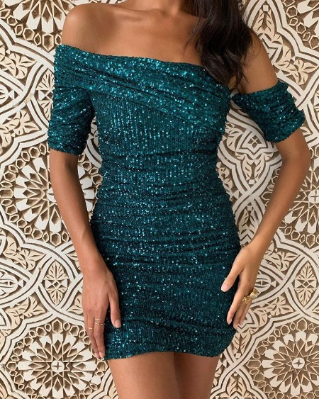 boutiquefeel / Glitter Off Shoulder Ruched Sequins Bodycon Dress