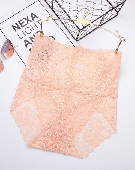High Waist Floral Lace Transparent Underwear