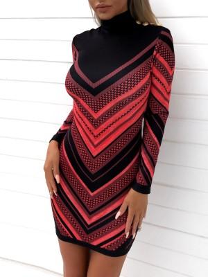Chevron Stripes Print Button Detail Bodycon Dress