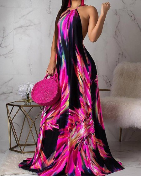 22fb3f2ee0b7 Halter Colorful Print Open Back Maxi Dress ...
