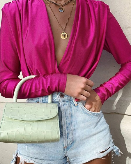 Solid Long Sleeve Deep V Ruched Blouse