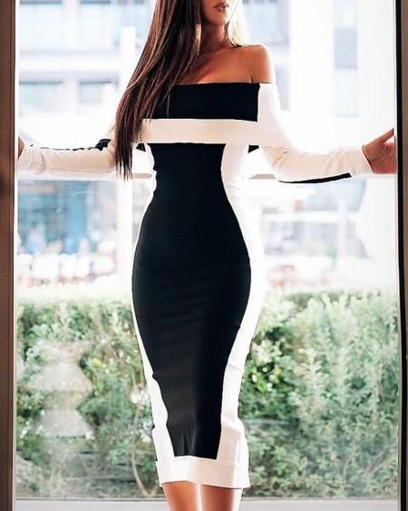 Off Shoulder Colorblock Long Sleeve Midi Dress