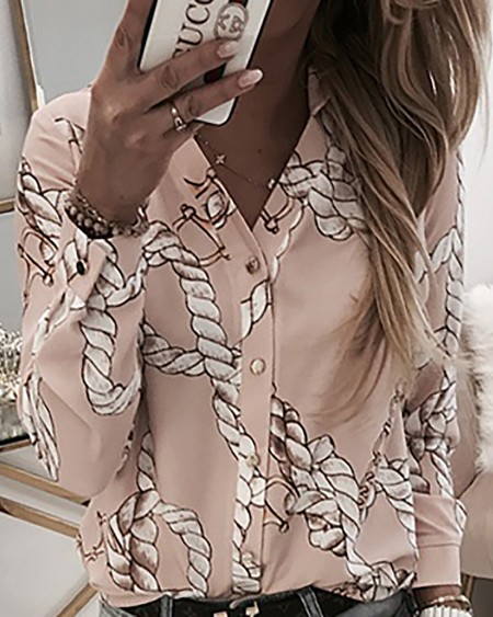 Rope Print Button Up Casual Blouse