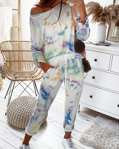 Tie Dye Print Long Sleeve Top & Drawstring Pants Set