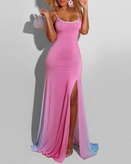 Ombre High Slit Colorblock Maxi Dress