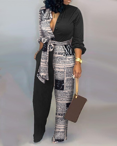 Colorblock Letter Print Casual Knotted Jumpsuit