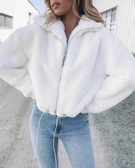 Solid Turn-down Collar Zipper Design Fluffy Coat